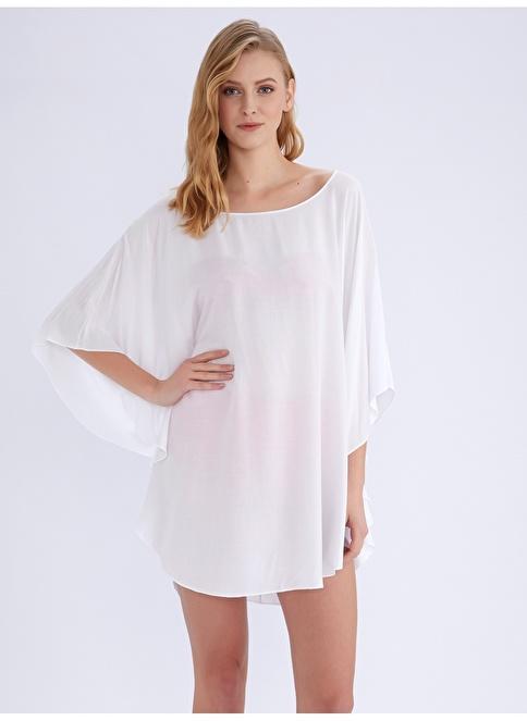 Ayyıldız Plaj Elbisesi Beyaz